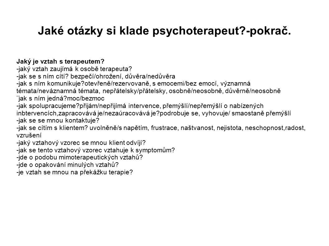 Jaké otázky si klade psychoterapeut?-pokrač.Jaký je vztah s terapeutem.