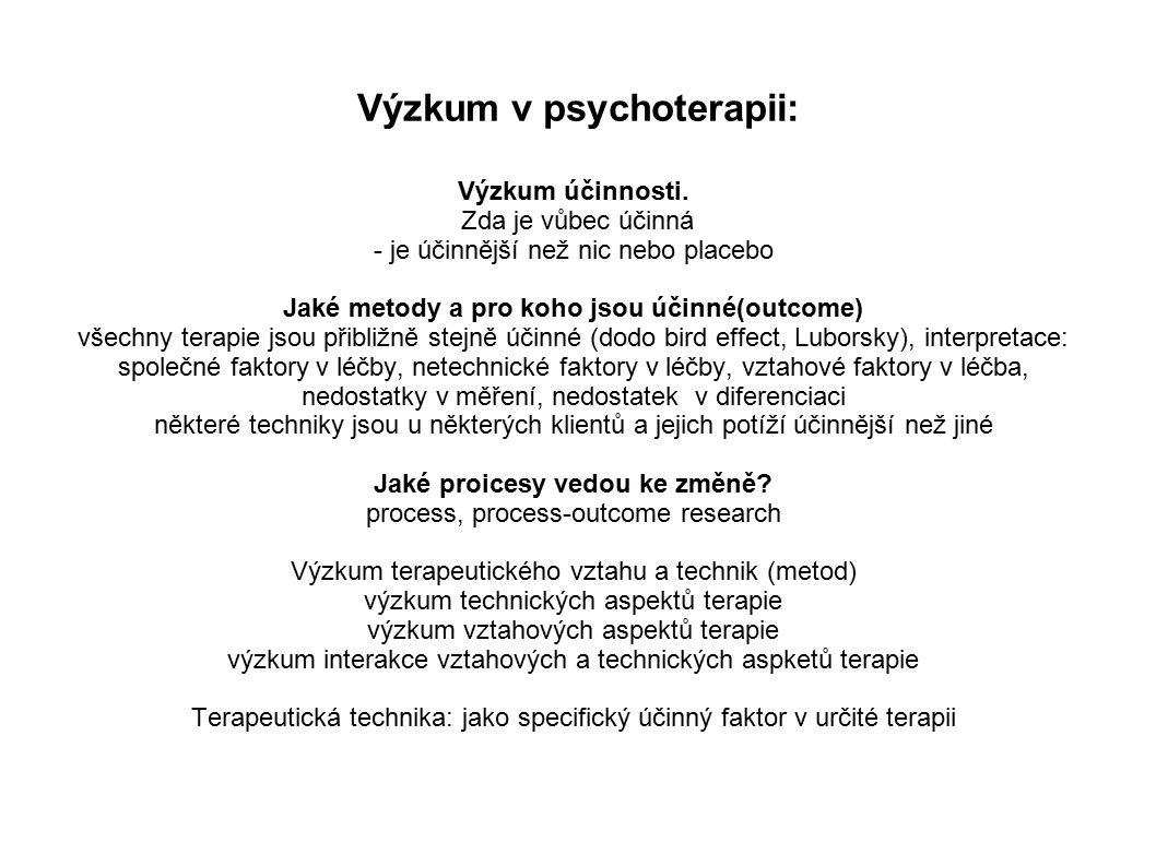 Výzkum v psychoterapii: Výzkum účinnosti.