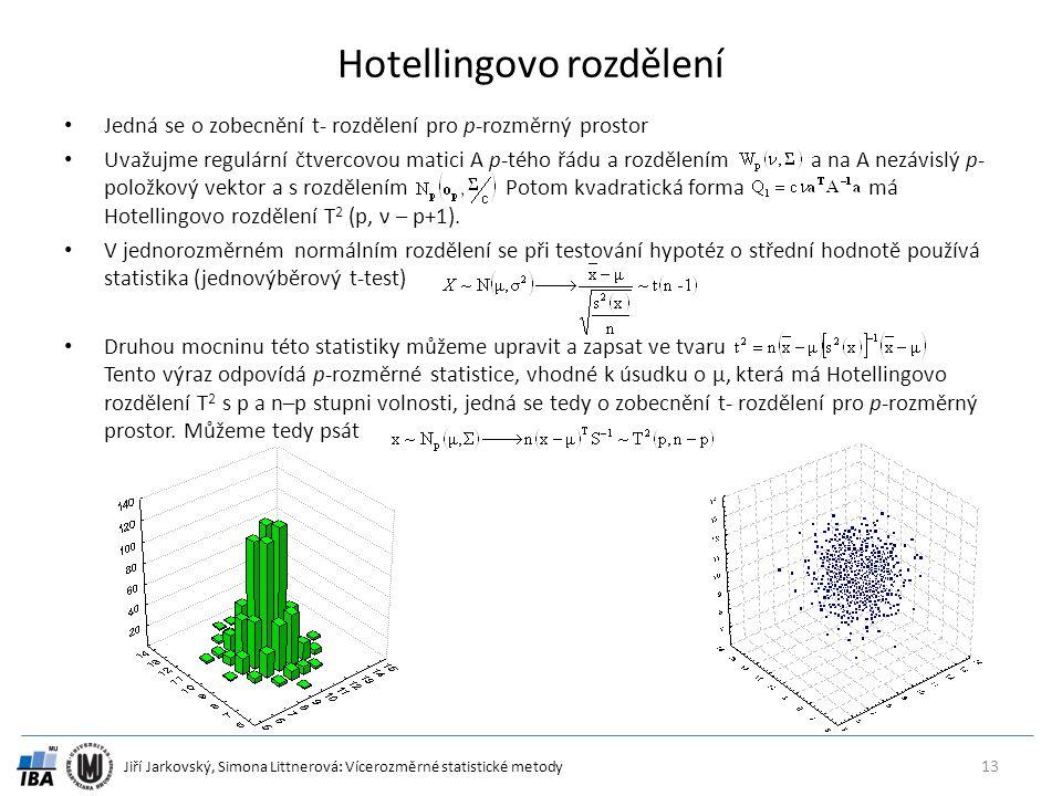 Jiří Jarkovský, Simona Littnerová: Vícerozměrné statistické metody Hotellingovo rozdělení Jedná se o zobecnění t- rozdělení pro p-rozměrný prostor Uvažujme regulární čtvercovou matici A p-tého řádu a rozdělením a na A nezávislý p- položkový vektor a s rozdělením Potom kvadratická forma má Hotellingovo rozdělení T 2 (p, ν – p+1).