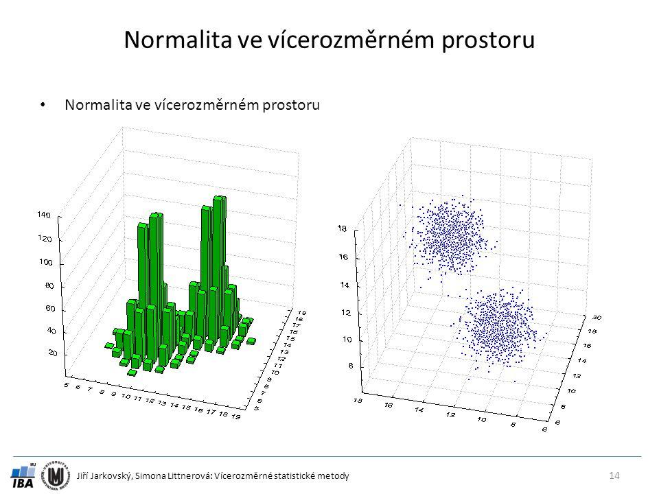 Jiří Jarkovský, Simona Littnerová: Vícerozměrné statistické metody Normalita ve vícerozměrném prostoru 14