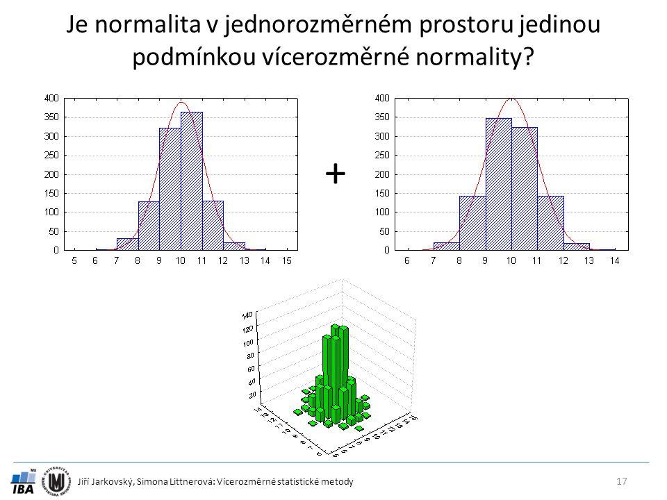 Jiří Jarkovský, Simona Littnerová: Vícerozměrné statistické metody Je normalita v jednorozměrném prostoru jedinou podmínkou vícerozměrné normality.