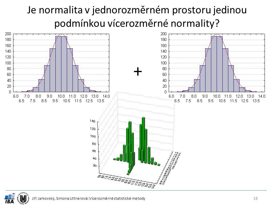 Jiří Jarkovský, Simona Littnerová: Vícerozměrné statistické metody Je normalita v jednorozměrném prostoru jedinou podmínkou vícerozměrné normality? 18