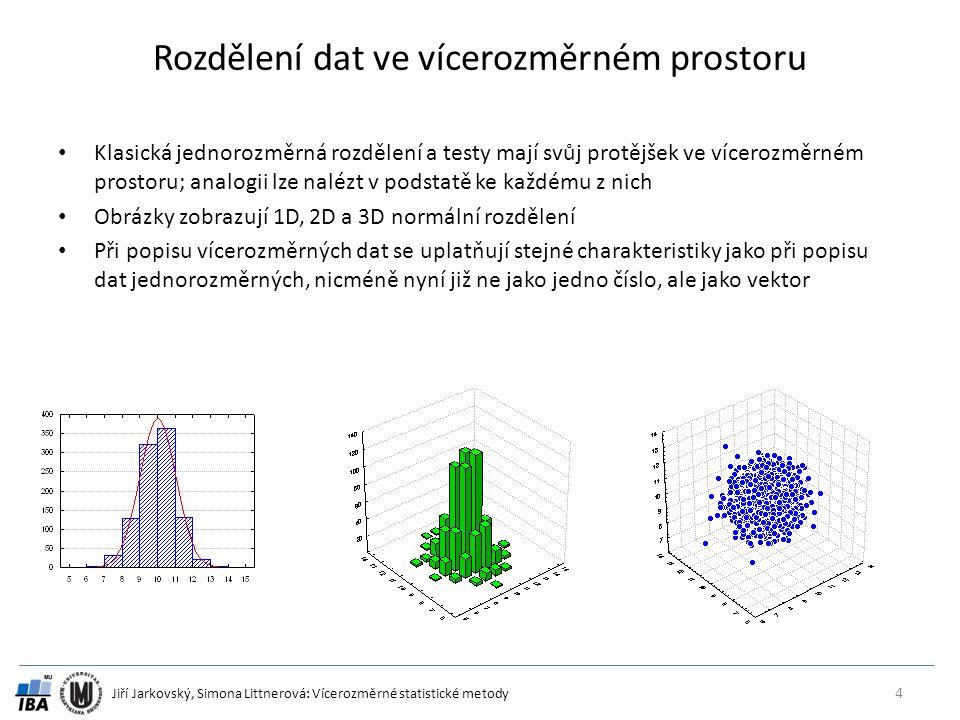 Jiří Jarkovský, Simona Littnerová: Vícerozměrné statistické metody Rozdělení dat ve vícerozměrném prostoru 4 Klasická jednorozměrná rozdělení a testy mají svůj protějšek ve vícerozměrném prostoru; analogii lze nalézt v podstatě ke každému z nich Obrázky zobrazují 1D, 2D a 3D normální rozdělení Při popisu vícerozměrných dat se uplatňují stejné charakteristiky jako při popisu dat jednorozměrných, nicméně nyní již ne jako jedno číslo, ale jako vektor