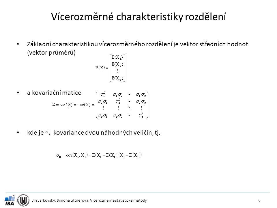 Jiří Jarkovský, Simona Littnerová: Vícerozměrné statistické metody Vícerozměrné charakteristiky rozdělení Základní charakteristikou vícerozměrného rozdělení je vektor středních hodnot (vektor průměrů) a kovariační matice kde je kovariance dvou náhodných veličin, tj.