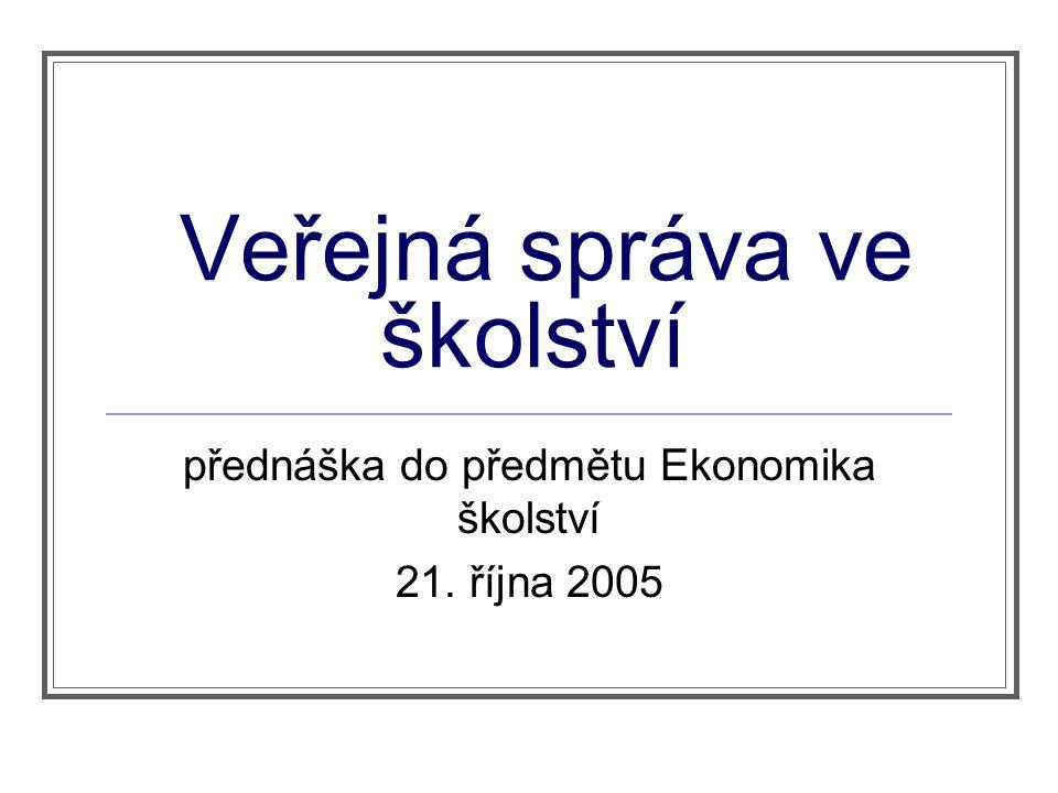 Veřejná správa ve školství přednáška do předmětu Ekonomika školství 21. října 2005