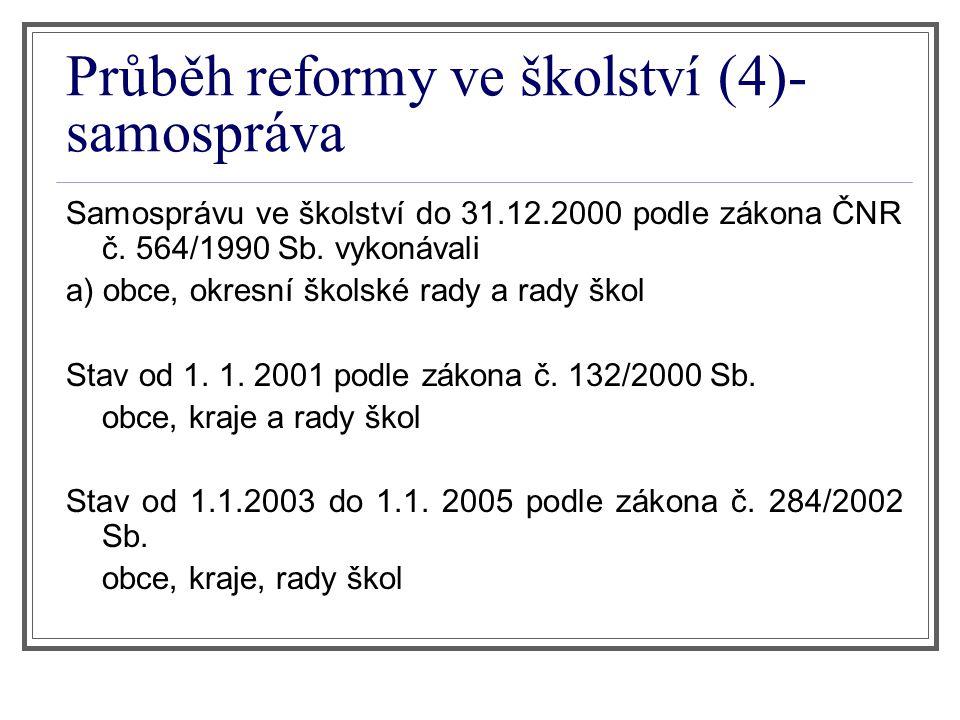 Průběh reformy ve školství (4)- samospráva Samosprávu ve školství do 31.12.2000 podle zákona ČNR č. 564/1990 Sb. vykonávali a) obce, okresní školské r