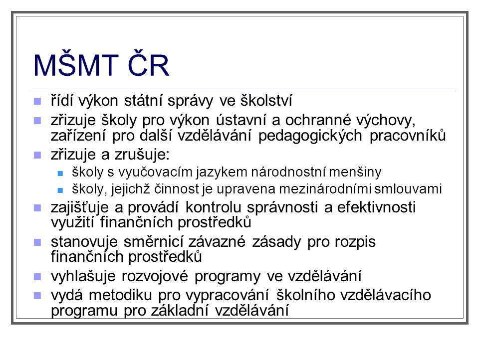MŠMT ČR řídí výkon státní správy ve školství zřizuje školy pro výkon ústavní a ochranné výchovy, zařízení pro další vzdělávání pedagogických pracovník