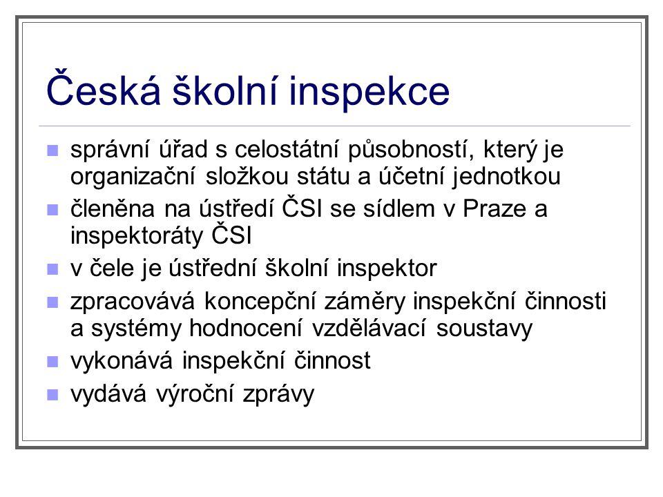 Česká školní inspekce správní úřad s celostátní působností, který je organizační složkou státu a účetní jednotkou členěna na ústředí ČSI se sídlem v P