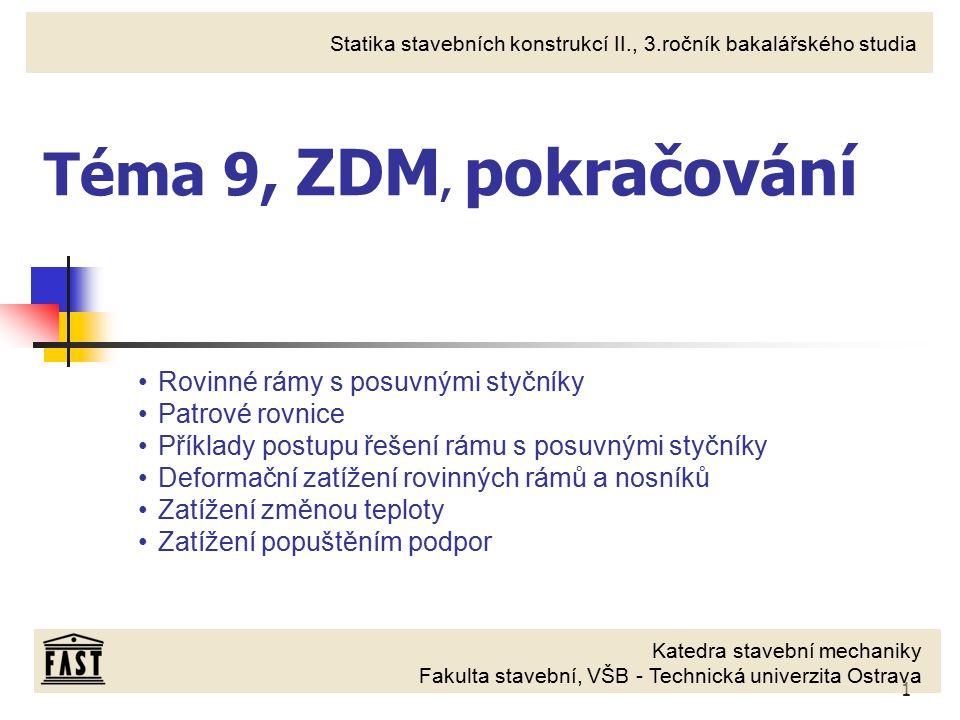 2 ZDM, styčníkové rovnice Styčníkové rovnice ve ZDM vyjadřují momentové podmínky rovnováhy