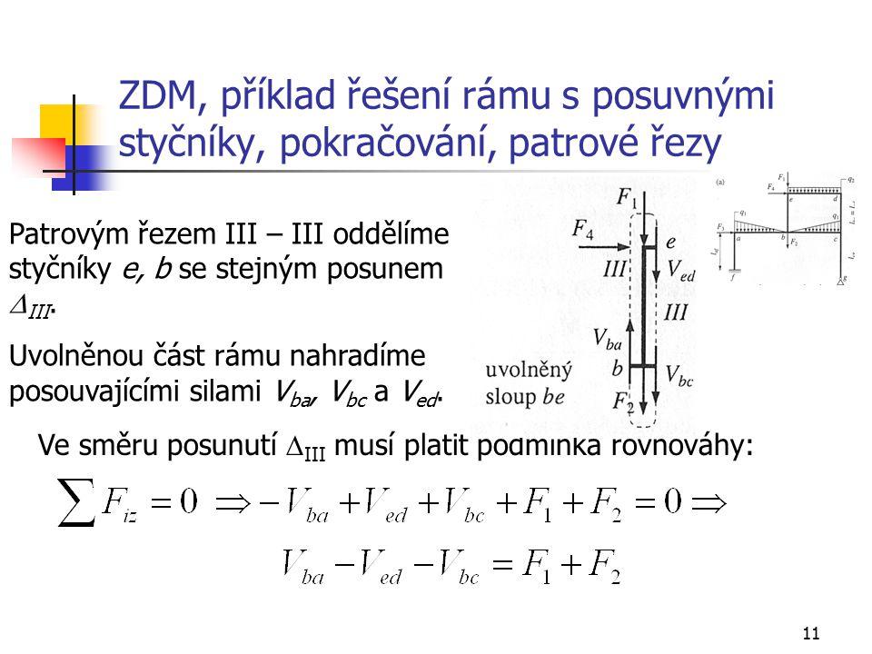 11 ZDM, příklad řešení rámu s posuvnými styčníky, pokračování, patrové řezy Patrovým řezem III – III oddělíme styčníky e, b se stejným posunem  III.