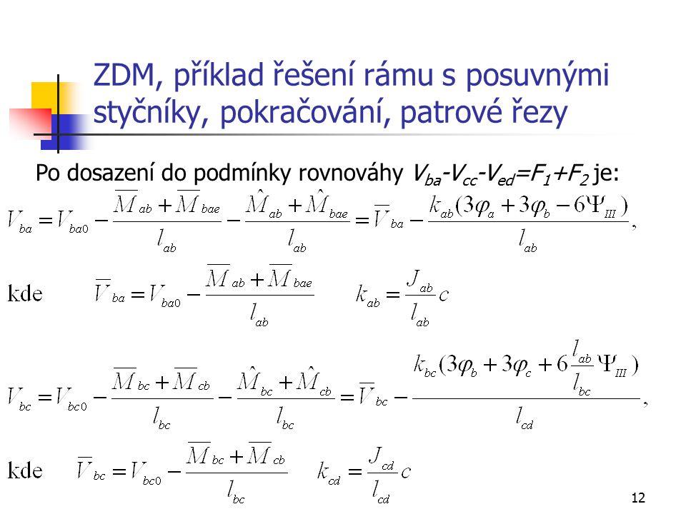 12 ZDM, příklad řešení rámu s posuvnými styčníky, pokračování, patrové řezy Po dosazení do podmínky rovnováhy V ba -V cc -V ed =F 1 +F 2 je: