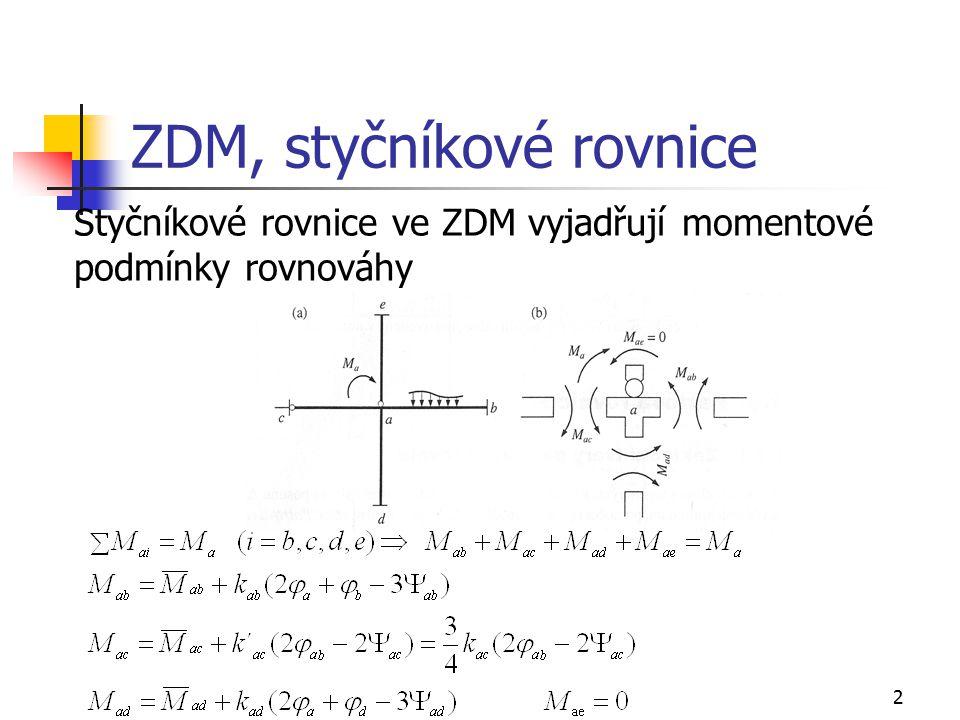 3 ZDM, patrové rovnice Patrové rovnice vyjadřují silovou podmínku rovnováhy ve směru nezávislého posunu na uvolněné části rámu (nosníku), odděleného patrovým řezem, obsahující styčníky se stejným posunem  Patrové rovnice se sestavují pro rámy (nosníky) s posuvnými styčníky.