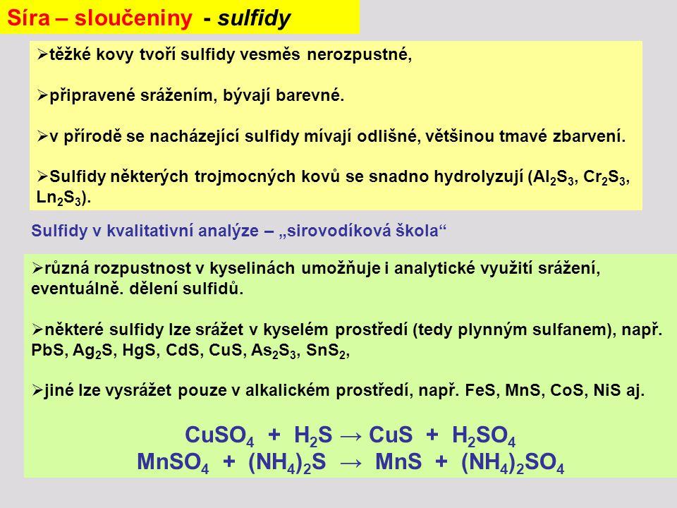  těžké kovy tvoří sulfidy vesměs nerozpustné,  připravené srážením, bývají barevné.  v přírodě se nacházející sulfidy mívají odlišné, většinou tmav