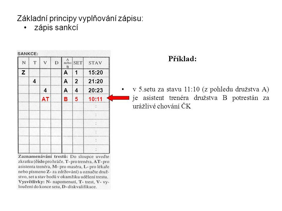 Základní principy vyplňování zápisu: zápis sankcí v 5.setu za stavu 11:10 (z pohledu družstva A) je asistent trenéra družstva B potrestán za urážlivé chování ČK Příklad: ZA115:20 4A221:20 4A420:23 ATB510:11