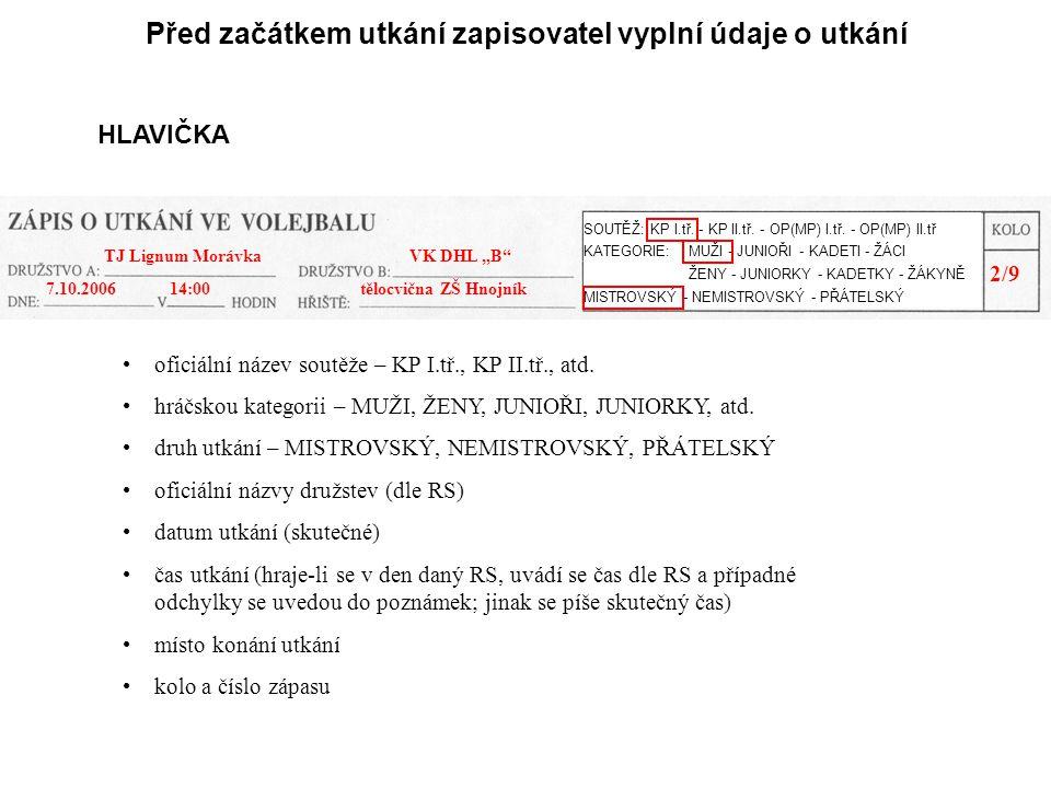 Před začátkem utkání zapisovatel vyplní údaje o utkání HLAVIČKA oficiální název soutěže – KP I.tř., KP II.tř., atd.