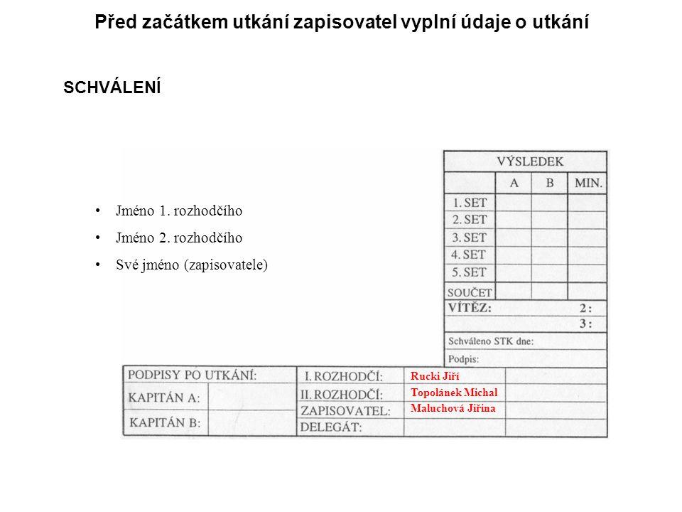 Před začátkem utkání zapisovatel vyplní údaje o utkání SCHVÁLENÍ Jméno 1.