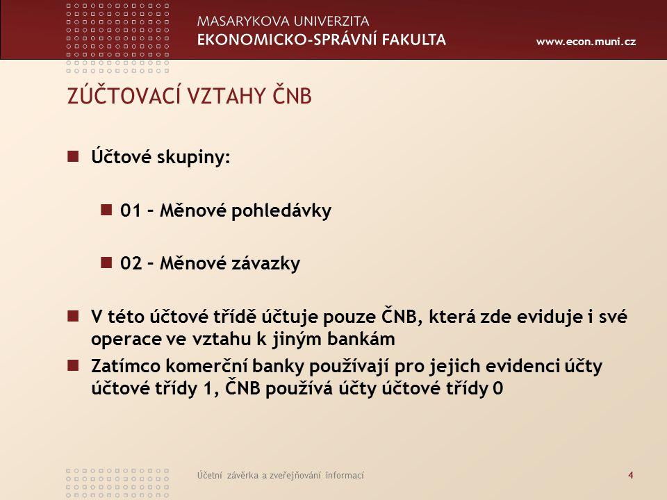 www.econ.muni.cz Účetní závěrka a zveřejňování informací5 Účtová skupina 01 Měnové pohledávky