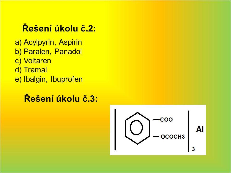 Řešení úkolu č.2: a)Acylpyrin, Aspirin b)Paralen, Panadol c)Voltaren d)Tramal e)Ibalgin, Ibuprofen Řešení úkolu č.3: