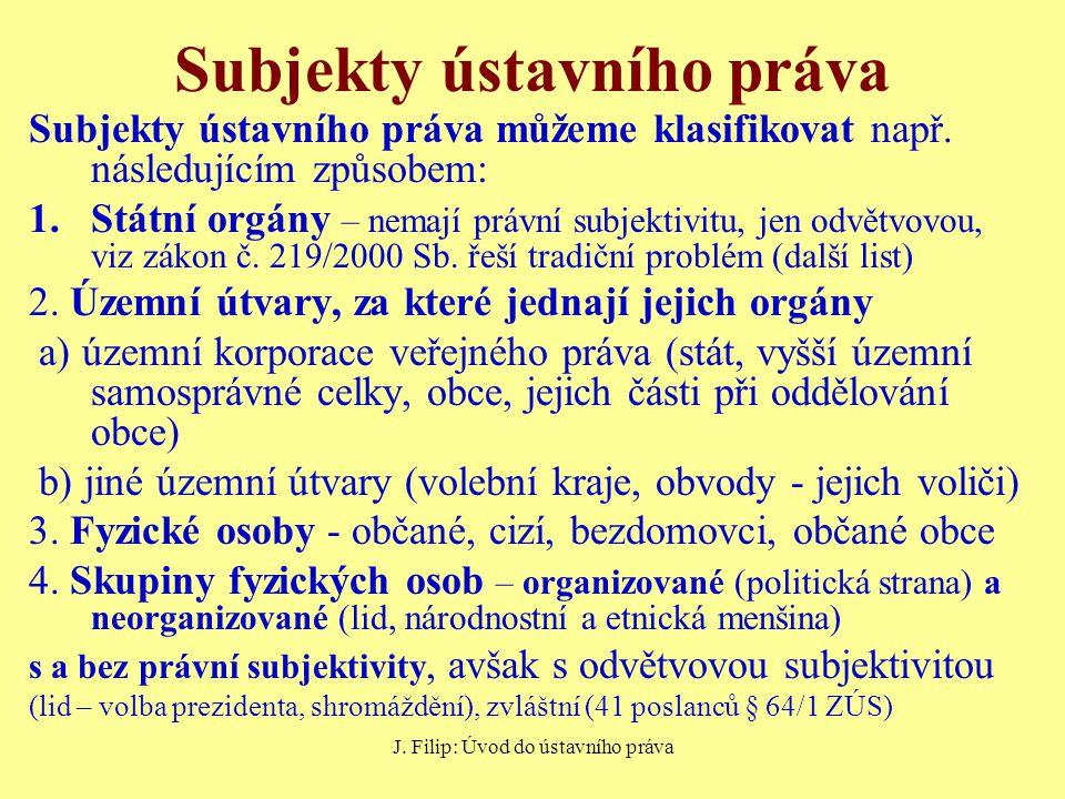 J. Filip: Úvod do ústavního práva Subjekty ústavního práva Subjekty ústavního práva můžeme klasifikovat např. následujícím způsobem: 1.Státní orgány –
