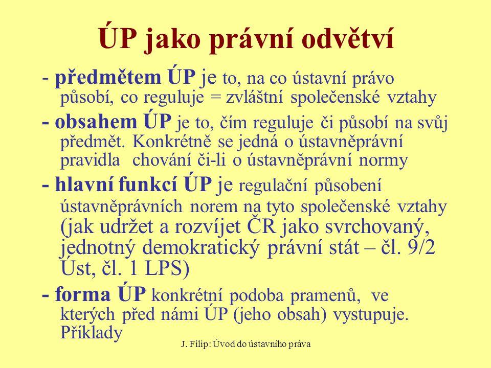 J.Filip: Úvod do ústavního práva Příklad – předmět, obsah, forma, funkce ÚP čl.