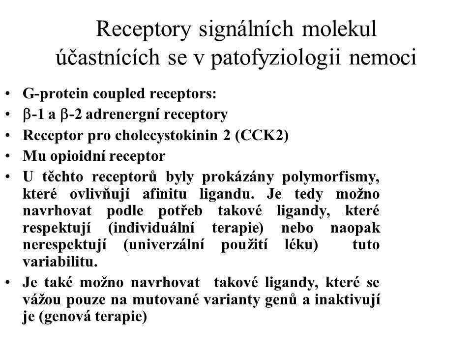 Receptory signálních molekul účastnících se v patofyziologii nemoci G-protein coupled receptors:  -1 a  -2 adrenergní receptory Receptor pro cholecystokinin 2 (CCK2) Mu opioidní receptor U těchto receptorů byly prokázány polymorfismy, které ovlivňují afinitu ligandu.