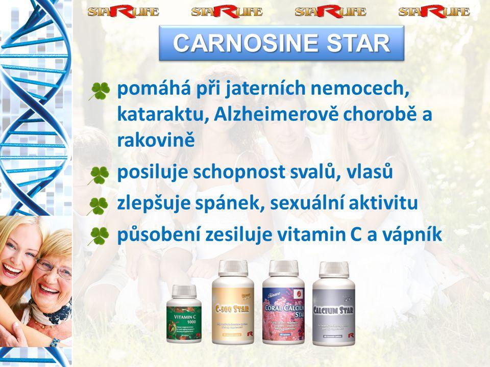pomáhá při jaterních nemocech, kataraktu, Alzheimerově chorobě a rakovině posiluje schopnost svalů, vlasů zlepšuje spánek, sexuální aktivitu působení zesiluje vitamin C a vápník CARNOSINE STAR