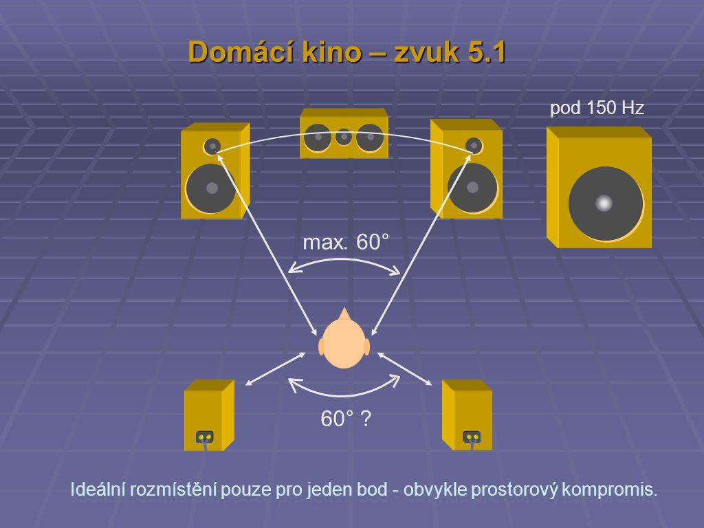 Domácí kino – zvuk 5.1 max. 60° 60° ? pod 150 Hz Ideální rozmístění pouze pro jeden bod - obvykle prostorový kompromis.