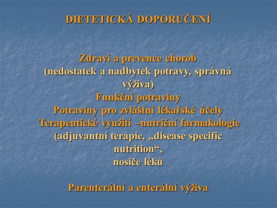 DIETETICKÁ DOPORUČENÍ Zdraví a prevence chorob (nedostatek a nadbytek potravy, správná výživa) Funkční potraviny Potraviny pro zvláštní lékařské účely
