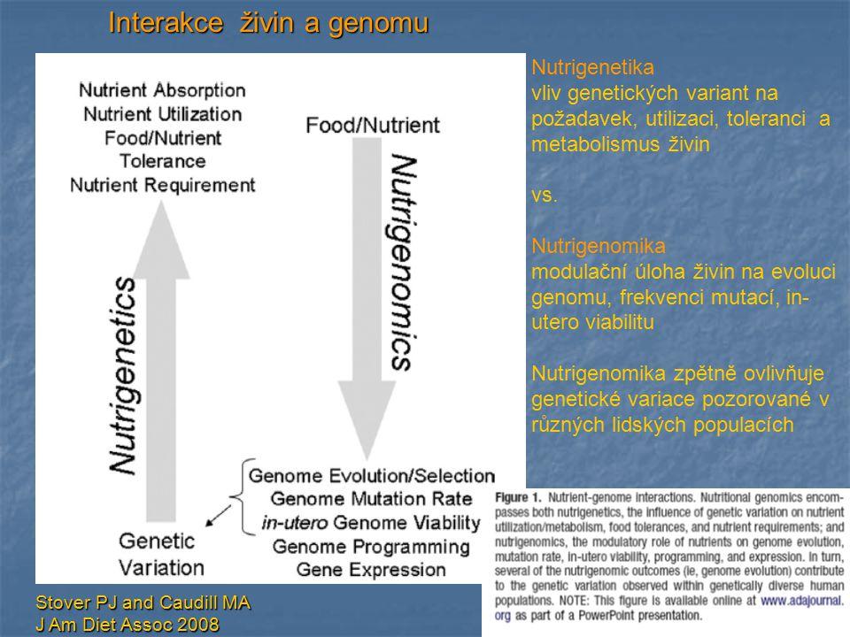 Stover PJ and Caudill MA J Am Diet Assoc 2008 Interakce živin a genomu Nutrigenetika vliv genetických variant na požadavek, utilizaci, toleranci a met