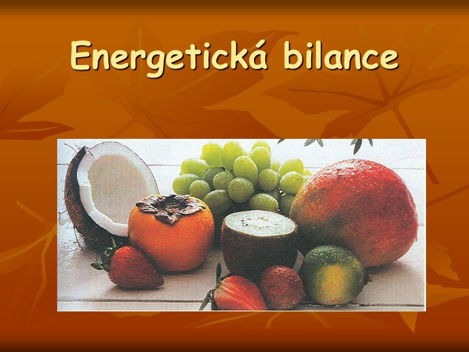 Energie: schopnost vykonávat práci nebo vytvářet teplo Energie: schopnost vykonávat práci nebo vytvářet teplo Strava slouží k nahrazení spotřebovaných zásob energie či k přeměně na potřebnou energii Strava slouží k nahrazení spotřebovaných zásob energie či k přeměně na potřebnou energii EB by měla být přísně vyvážená – stabilní tělesná hmotnost (dle BMI) EB by měla být přísně vyvážená – stabilní tělesná hmotnost (dle BMI) Negativní energetická bilance ( E výdej vyšší o > 10 % ) => nedostatek energie, pokles hmotnosti, poškození zdraví, prodloužená doba regenerace Negativní energetická bilance ( E výdej vyšší o > 10 % ) => nedostatek energie, pokles hmotnosti, poškození zdraví, prodloužená doba regenerace Pozitivní energetická bilance => nadbytek energie, vzestup hmotnosti, ukládání tuku, budování svalové hmoty Pozitivní energetická bilance => nadbytek energie, vzestup hmotnosti, ukládání tuku, budování svalové hmoty Energetická bilance = energetický příjem – energetický výdej