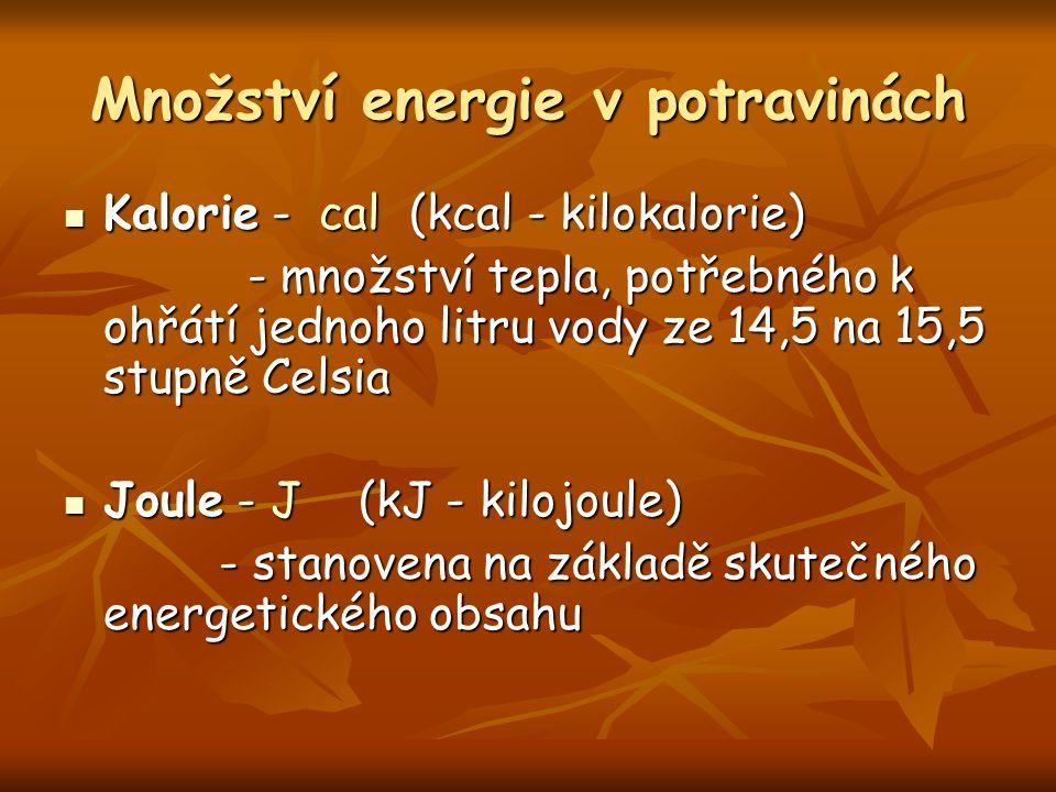 Množství energie v potravinách Kalorie - cal (kcal - kilokalorie) Kalorie - cal (kcal - kilokalorie) - množství tepla, potřebného k ohřátí jednoho litru vody ze 14,5 na 15,5 stupně Celsia - množství tepla, potřebného k ohřátí jednoho litru vody ze 14,5 na 15,5 stupně Celsia Joule - J (kJ - kilojoule) Joule - J (kJ - kilojoule) - stanovena na základě skutečného energetického obsahu - stanovena na základě skutečného energetického obsahu