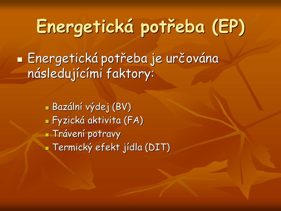 Energetická potřeba (EP) Energetická potřeba je určována následujícími faktory: Energetická potřeba je určována následujícími faktory: Bazální výdej (BV) Bazální výdej (BV) Fyzická aktivita (FA) Fyzická aktivita (FA) Trávení potravy Trávení potravy Termický efekt jídla (DIT) Termický efekt jídla (DIT)