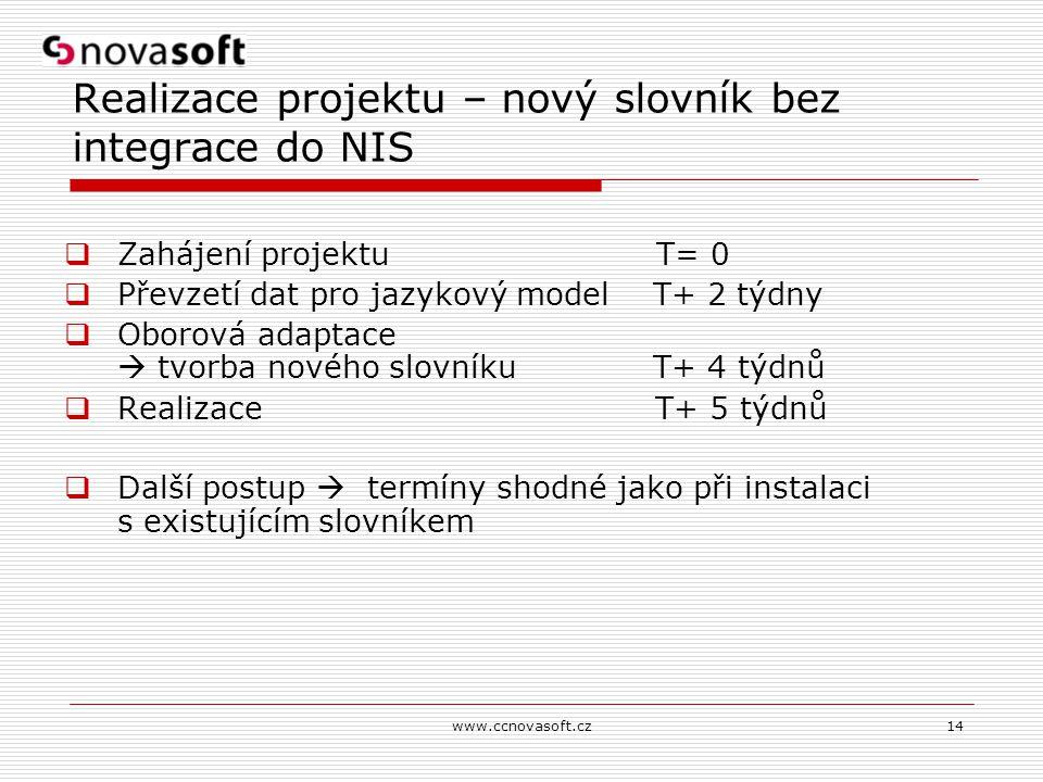 www.ccnovasoft.cz14 Realizace projektu – nový slovník bez integrace do NIS  Zahájení projektu T= 0  Převzetí dat pro jazykový model T+ 2 týdny  Obo