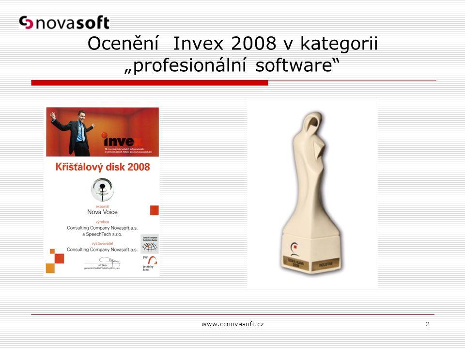 """www.ccnovasoft.cz2 Ocenění Invex 2008 v kategorii """"profesionální software"""""""