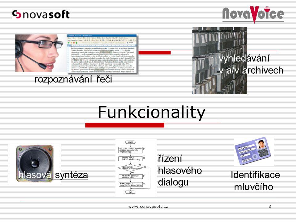 www.ccnovasoft.cz3 Funkcionality rozpoznávání řeči hlasová syntéza vyhledávání v a/v archivech řízení hlasového dialogu Identifikace mluvčího