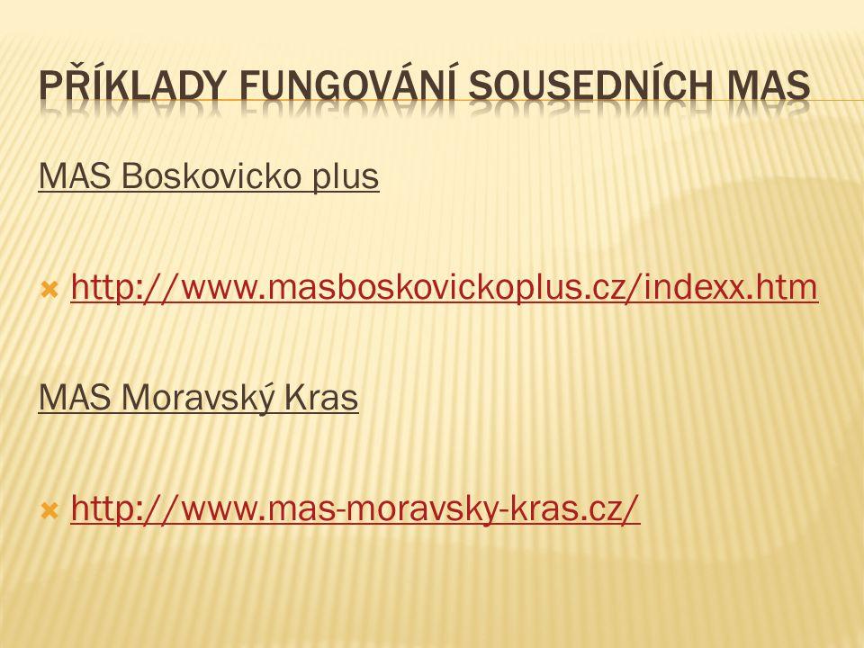 MAS Boskovicko plus  http://www.masboskovickoplus.cz/indexx.htm http://www.masboskovickoplus.cz/indexx.htm MAS Moravský Kras  http://www.mas-moravsky-kras.cz/ http://www.mas-moravsky-kras.cz/