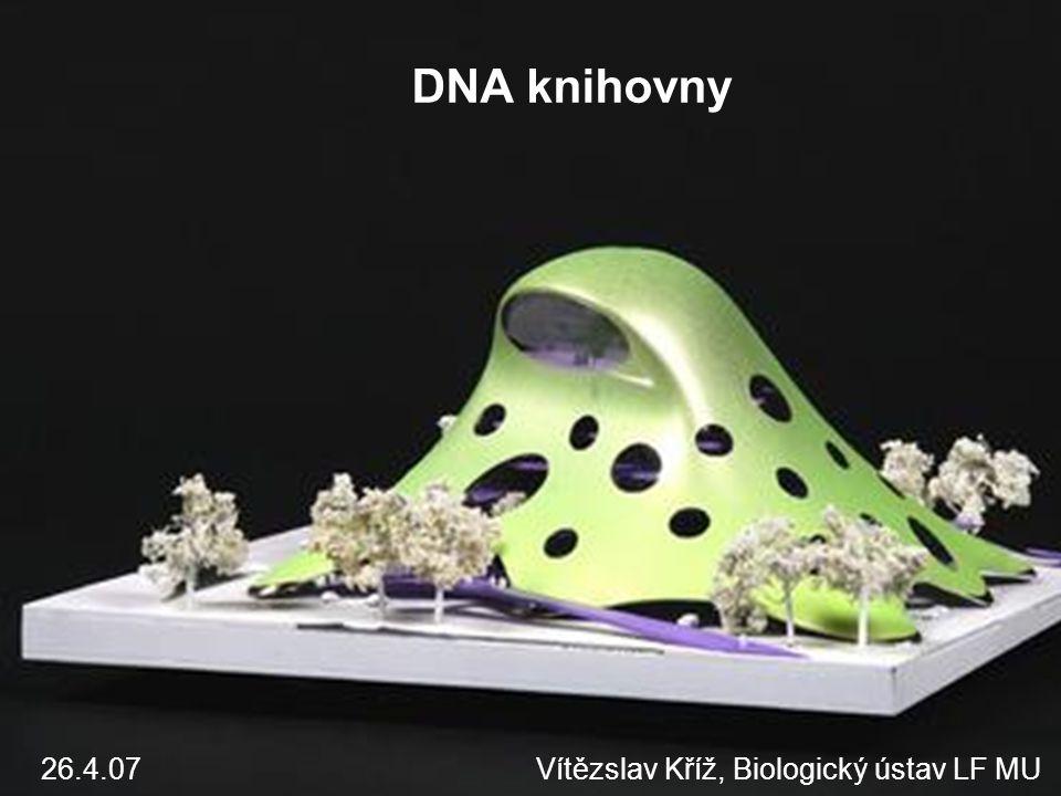 Genomové X cDNA knihovny cDNA knihovny Zmapování těch částí genomu, které jsou transkribovány Izolována totální RNA a přepsána do cDNA Reverzní transkripce Genomové knihovny Genomová DNA z určitého organizmu či ze specifické buněčné linie Obsahuje i sekvence, které nejsou transkribovány