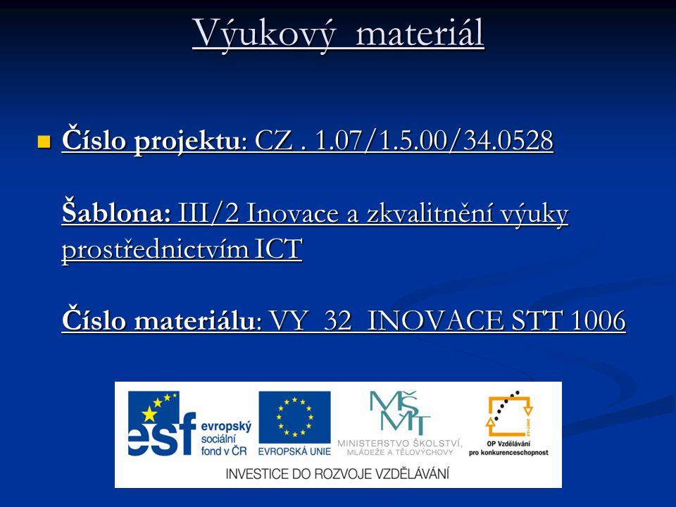 Výukový materiál Číslo projektu: CZ. 1.07/1.5.00/34.0528 Šablona: III/2 Inovace a zkvalitnění výuky prostřednictvím ICT Číslo materiálu: VY 32 INOVACE