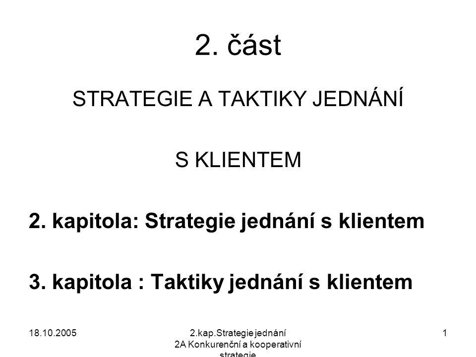 18.10.20052.kap.Strategie jednání 2A Konkurenční a kooperativní strategie 1 2.