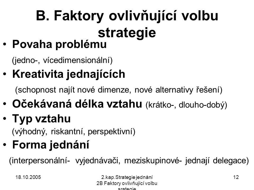 18.10.20052.kap.Strategie jednání 2B Faktory ovlivňující volbu srategie 12 B.