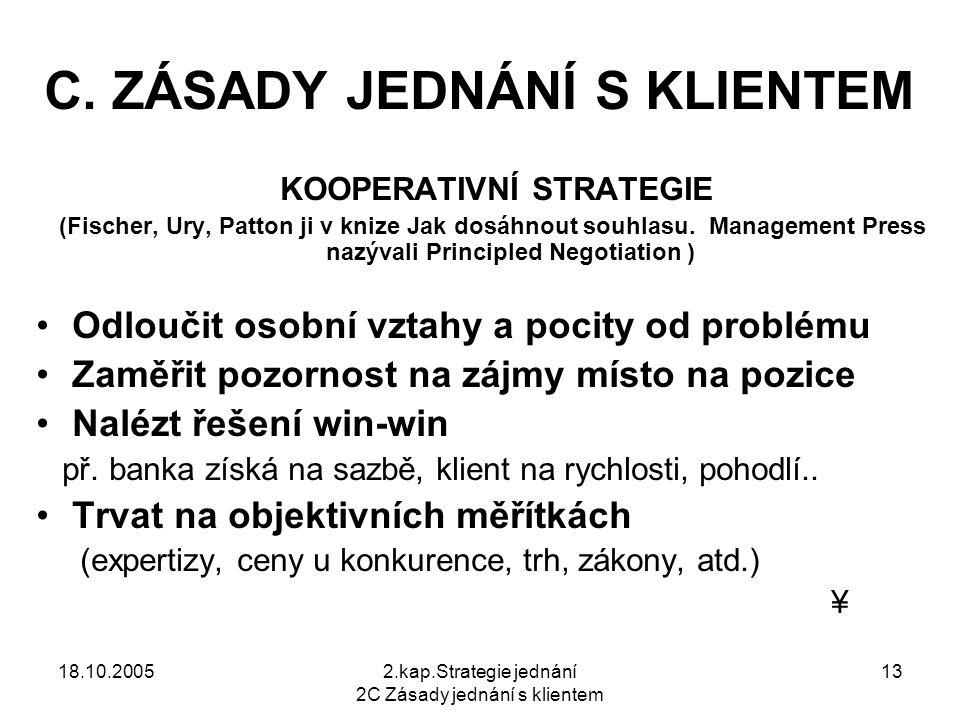 18.10.20052.kap.Strategie jednání 2C Zásady jednání s klientem 13 C.