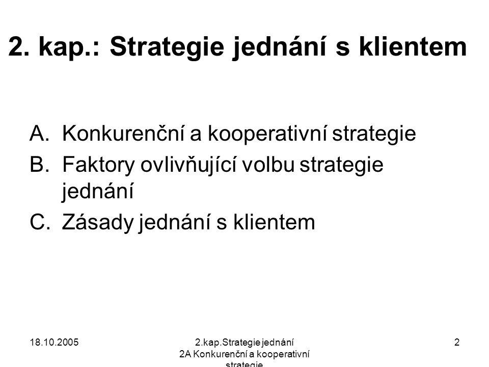 18.10.20052.kap.Strategie jednání 2A Konkurenční a kooperativní strategie 3 A.Konkurenční a kooperativní strategie Při jednání a vyjednávání mají strany 2 možnosti volby strategie: Kooperativní, spolupracující cíl: win-win, dosáhnout vzájemně uspokojivé dohody Konkurenční, soutěživé, kompetitivní cíl : win–loss, dosáhnout co nejlepších výsledků na úkor druhé strany