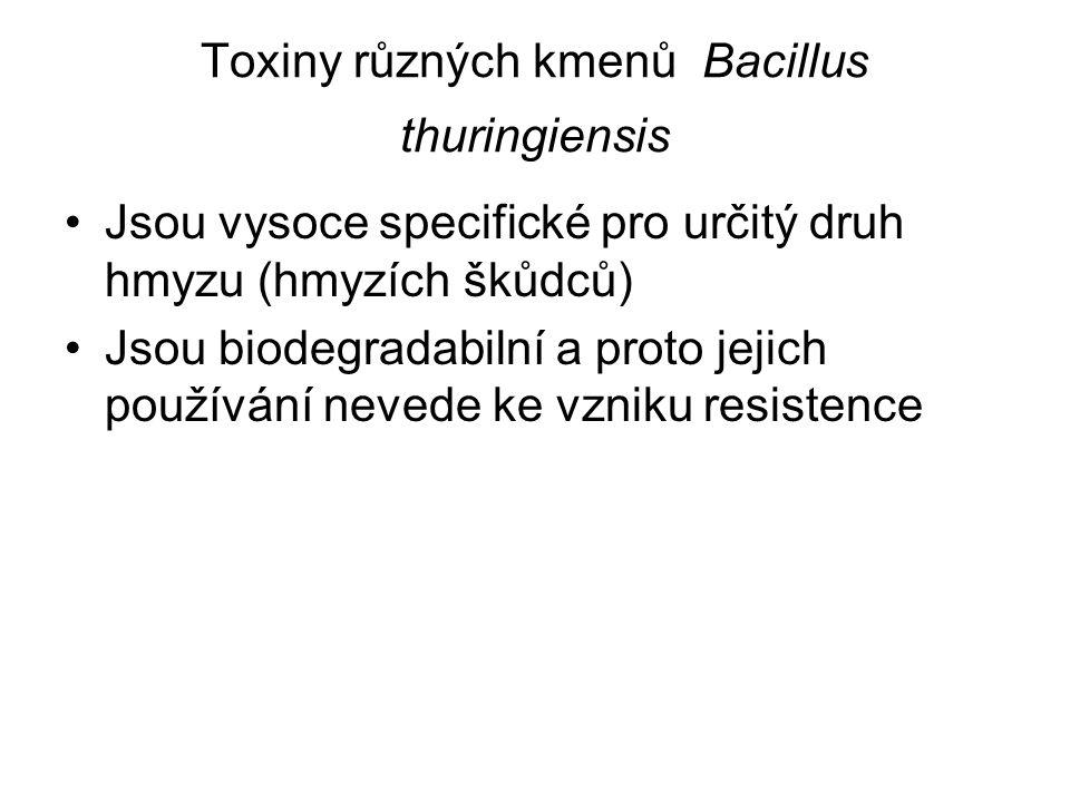 Toxiny různých kmenů Bacillus thuringiensis Jsou vysoce specifické pro určitý druh hmyzu (hmyzích škůdců) Jsou biodegradabilní a proto jejich používání nevede ke vzniku resistence
