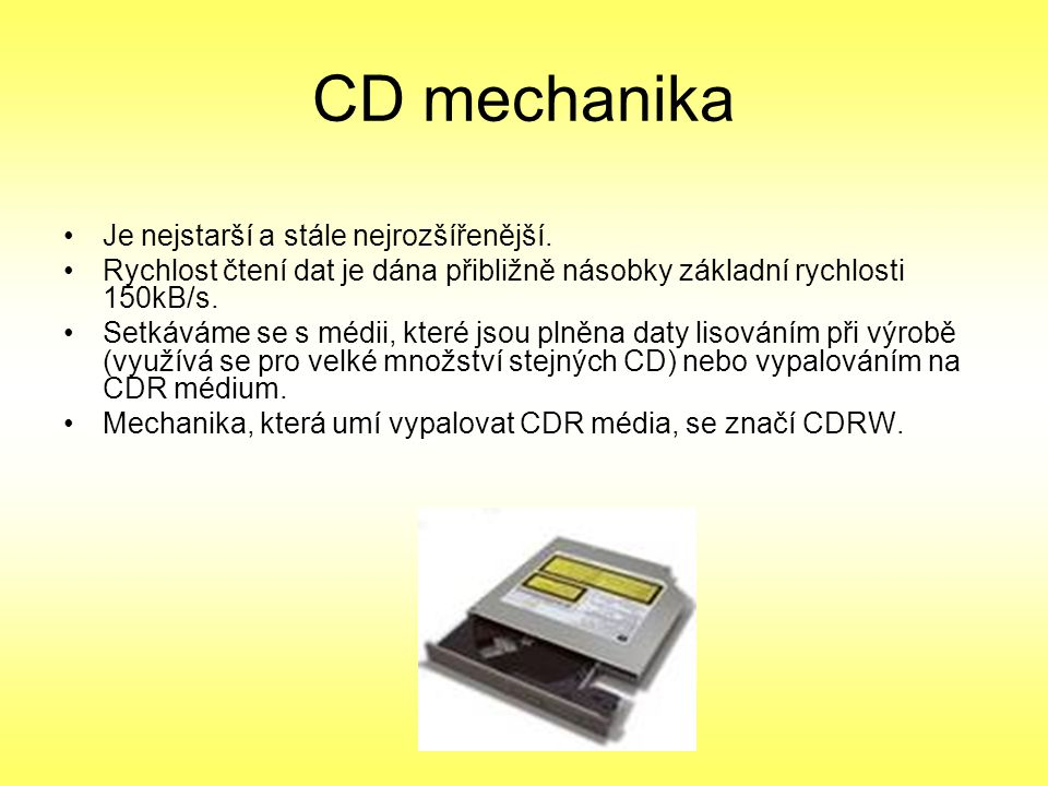 Blue-ray disk Poslední dobou se oblevují přehrávače které umí přehrávat blue-ray disky Je vytvořen jako 3.generace optických disků Pro zápis se používá modrý paprsek DVD může nabídnout až 8,5 GB, když je oboustranné.