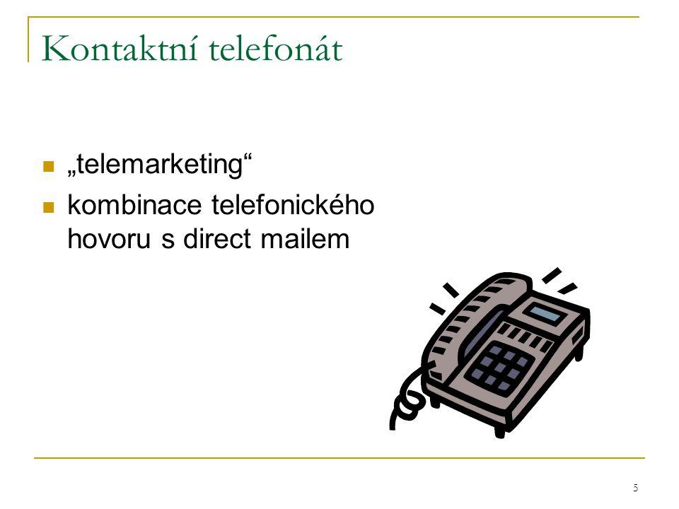 """5 Kontaktní telefonát """"telemarketing kombinace telefonického hovoru s direct mailem"""
