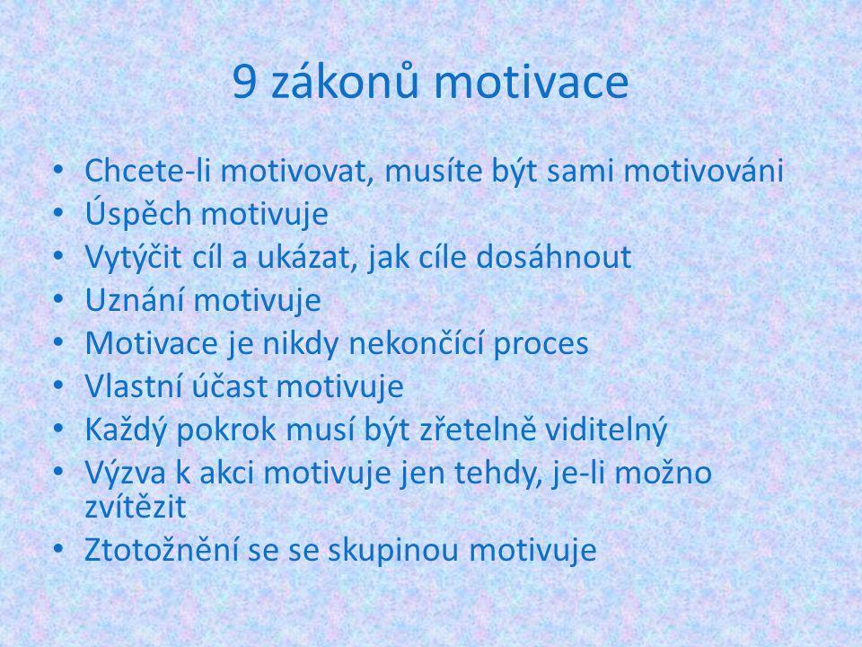 9 zákonů motivace Chcete-li motivovat, musíte být sami motivováni Úspěch motivuje Vytýčit cíl a ukázat, jak cíle dosáhnout Uznání motivuje Motivace je