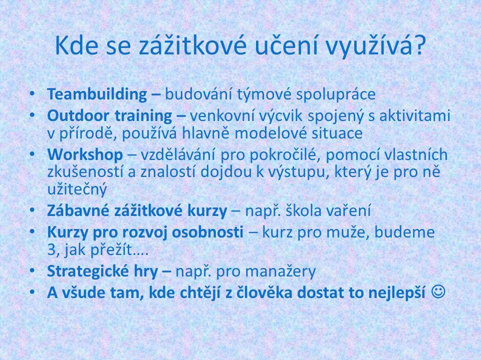 Kde se zážitkové učení využívá? Teambuilding – budování týmové spolupráce Outdoor training – venkovní výcvik spojený s aktivitami v přírodě, používá h