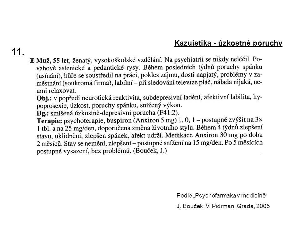 """11.Kazuistika - úzkostné poruchy Podle """"Psychofarmaka v medicíně J."""