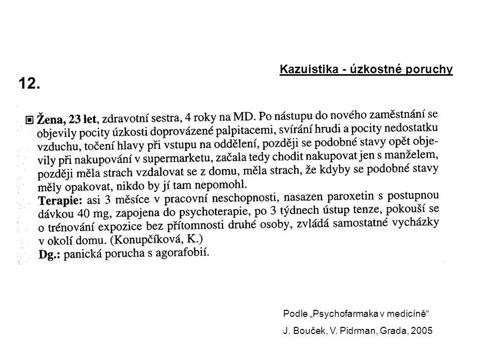 """12.Kazuistika - úzkostné poruchy Podle """"Psychofarmaka v medicíně J."""