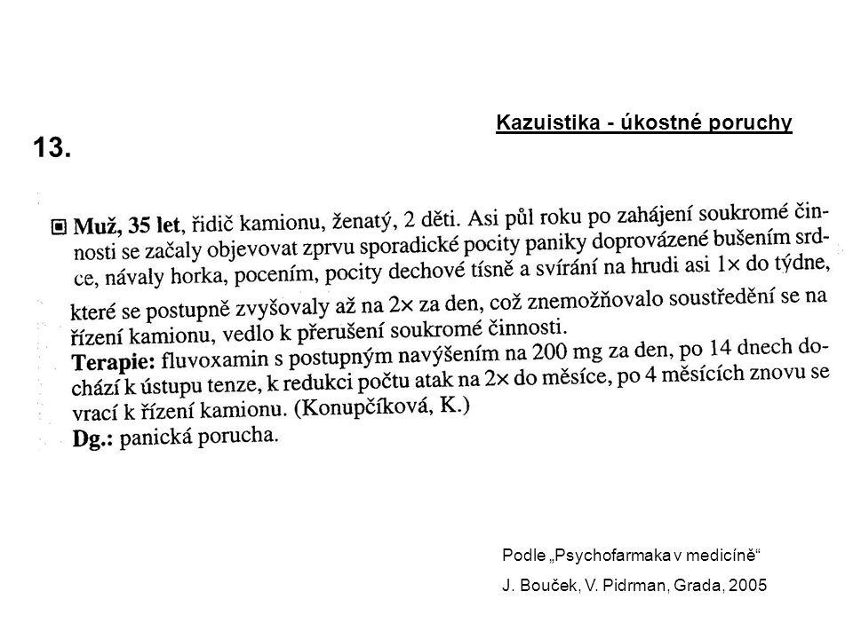 """13.Kazuistika - úkostné poruchy Podle """"Psychofarmaka v medicíně J."""